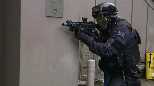 Member of British armed response unit on training exercise