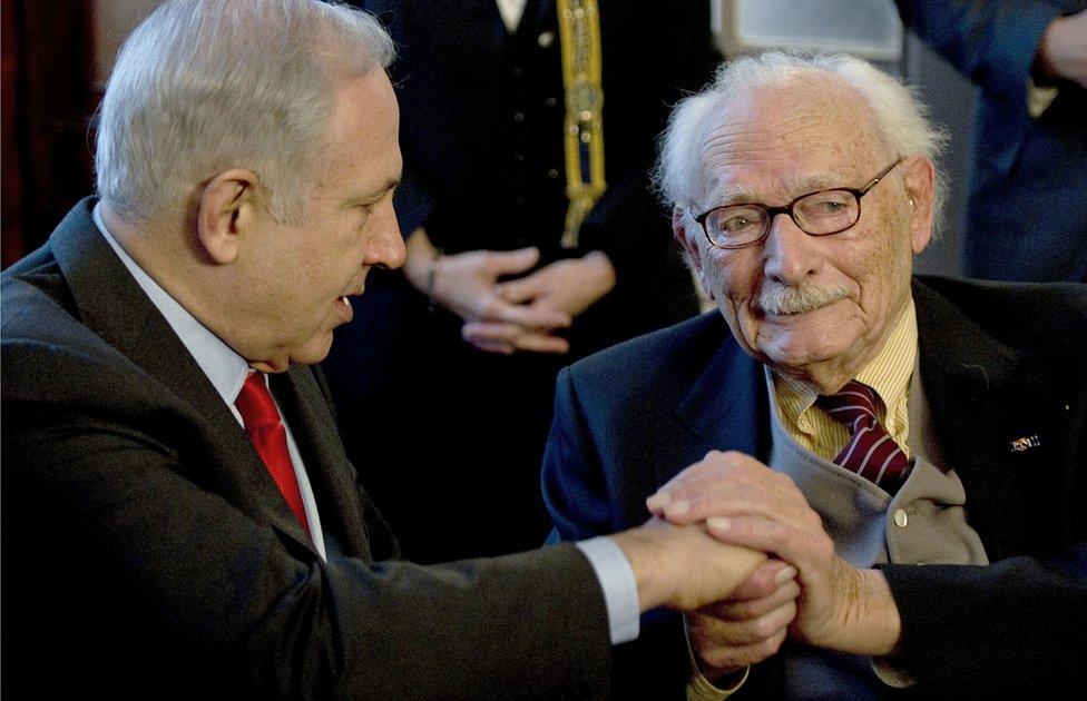 Benjamin Netanyahu and Johan Van Hulst in 2015
