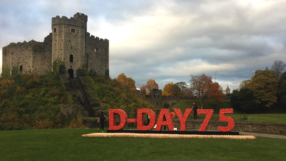 Cardiff Castle and a tribute to the 75th anniversary of the D Day landings made from poppies