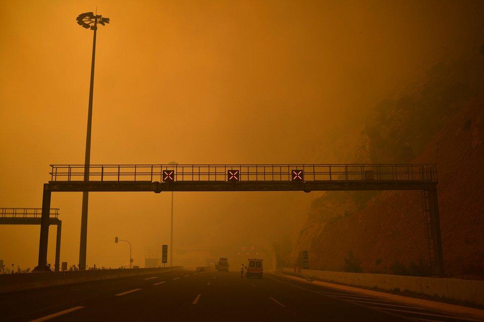 Una barricada evita el paso en una carretera invadida por el fuego y humo en Kineta, cerca de Atenas, el 23 de julio de 2018