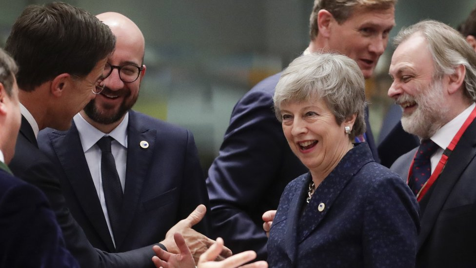 """Luxembourg""""s Prime Minister Xavier Bettel, Dutch Prime Minister Mark Rutte, Belgium""""s Prime Minister Charles Michel, Britain's Prime Minister Theresa May and President of the European Commission Jean-Claude Juncker share a smile and a joke at last week's European Council summit"""