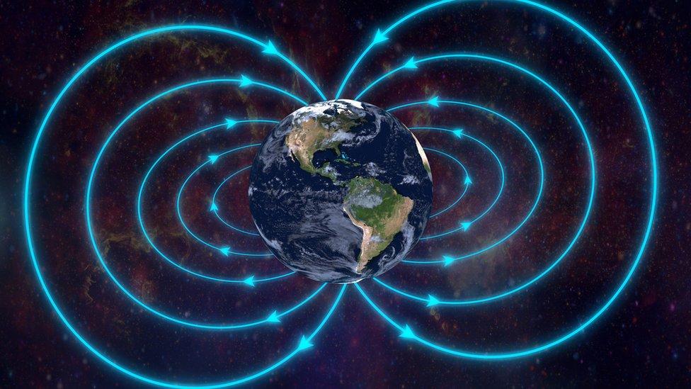 Ilustração da terra e de seu campo magnético