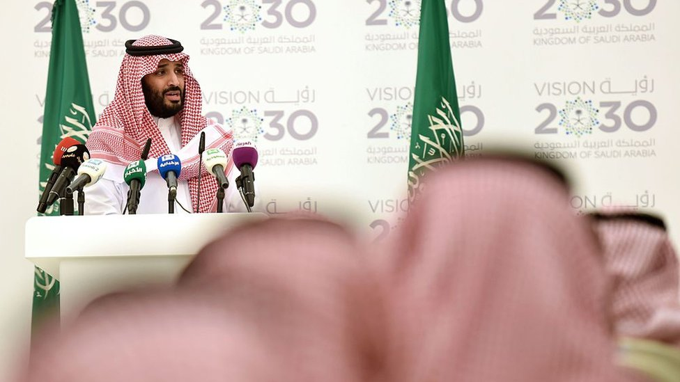 Saudi Prince Mohammed bin Salman gives a press conference in Riyadh after unveiling Vision 2030, on 25 April 2016