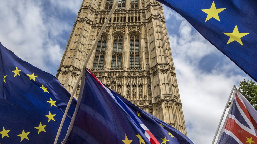 UK and EU flags at Westminster