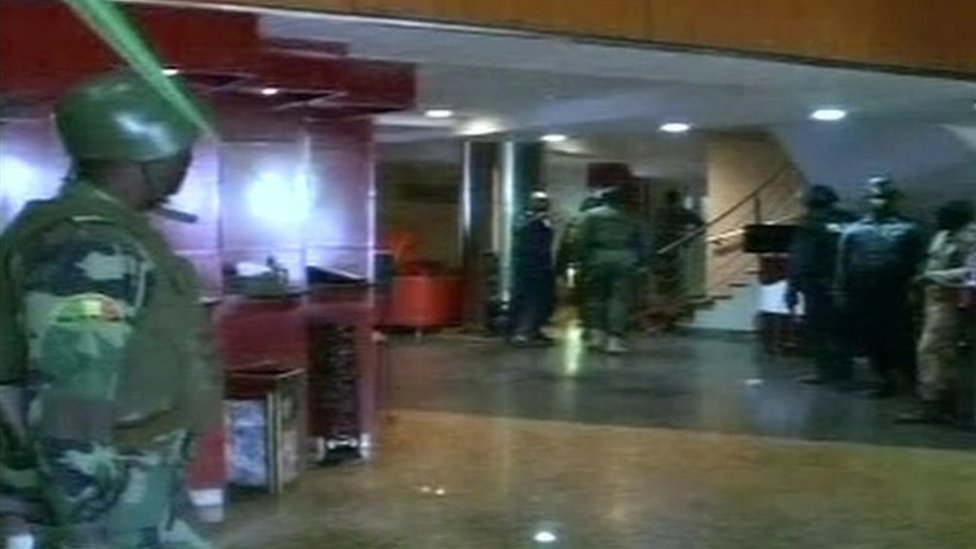 Picture of security forces inside the hotel in Bamako, Mali