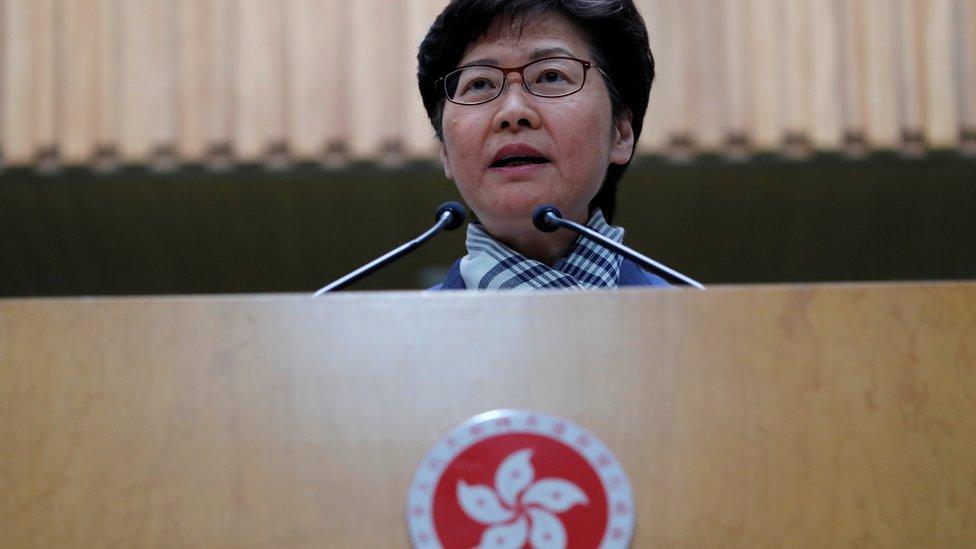 """林鄭月娥形容示威者的行為具""""破壞性、摧毀性""""。"""