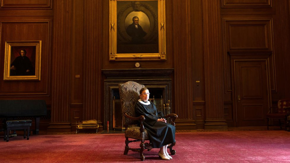 Supreme Court Justice Ruth Bader Ginsburg, celebrating her 20th anniversary on the bench, is photographed in the East conference room at the US Supreme Court in Washington, DC, on 30 August, 2013