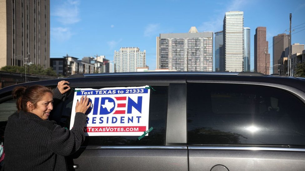 Biden supporter in Housten, Texas