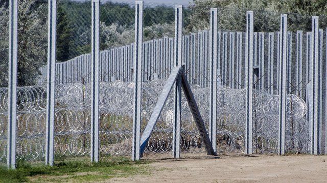 The border fence near the village of Asotthalom