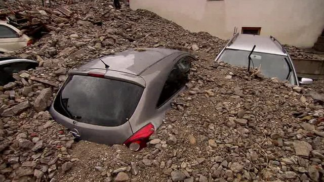 Cars buried after flooding in southwest Germany