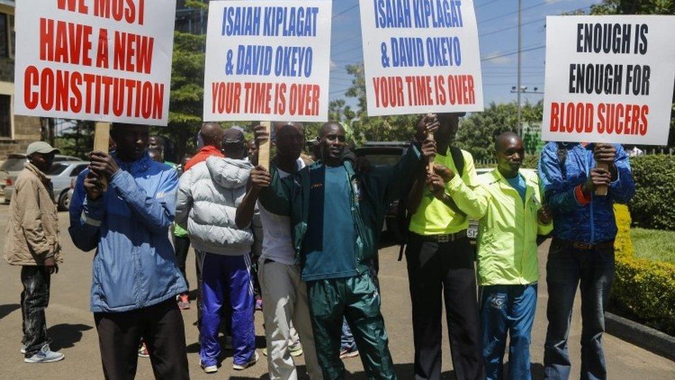 Kenyan athletes at protest