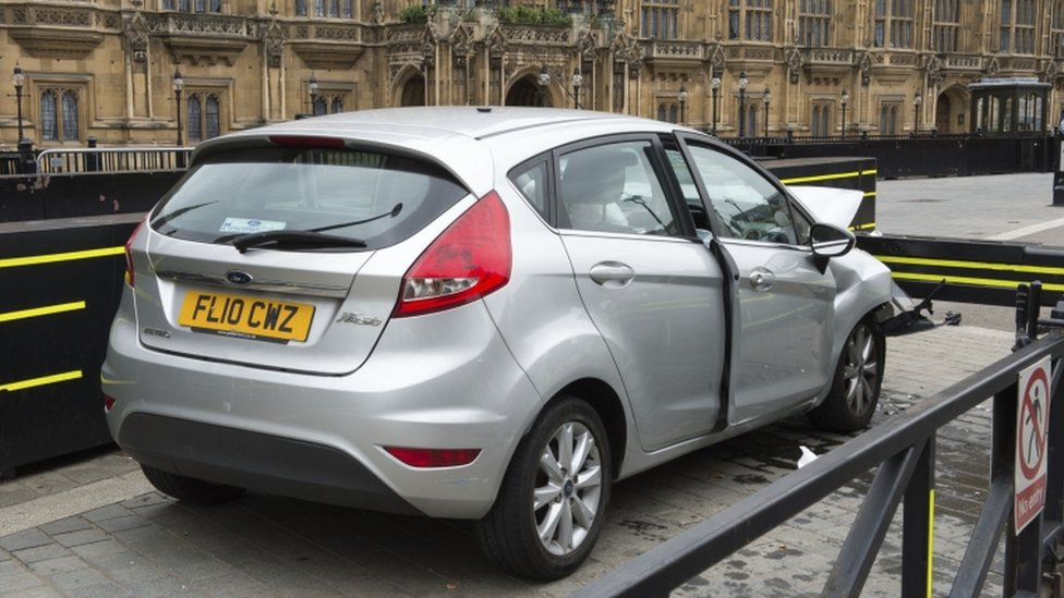 The silver Ford Fiesta allegedly driven by Salih Khater as he crashed outside the Houses of Parliament