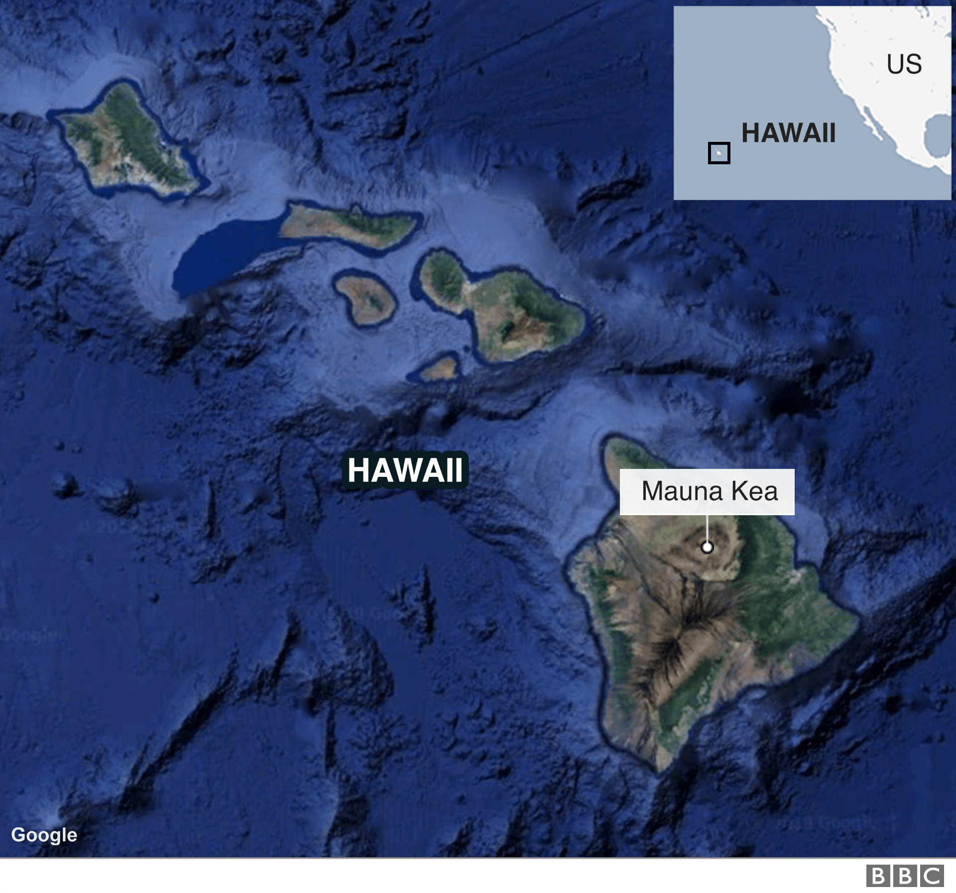 A map shows the location of the Mauna Kea