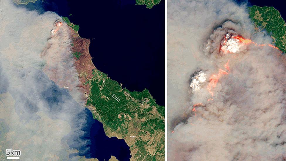 Satelitski snimci požara na grčkom ostrvu Evija