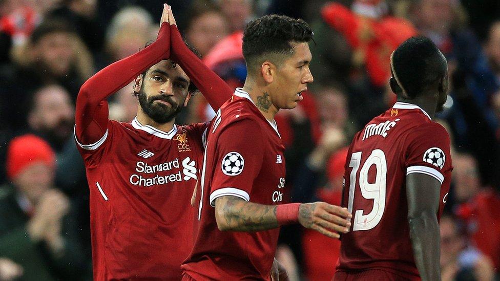 Mohamed, Salah, Sadio Mané y Roberto Firmino