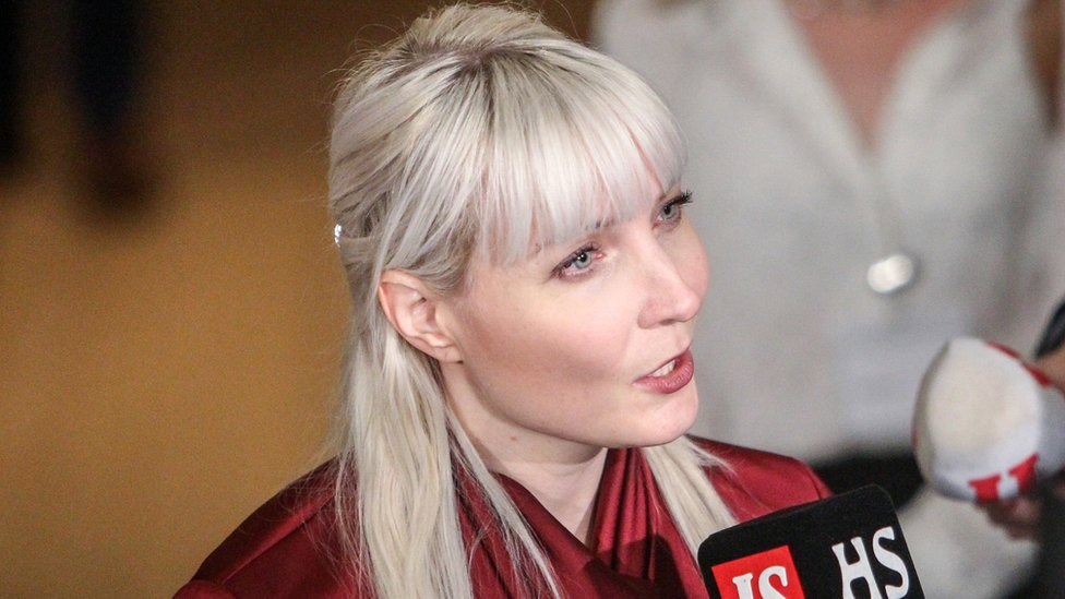 Finns Party MP Laura Huhtasaari, pictured at the House of the Estates in Helsinki, Finland.