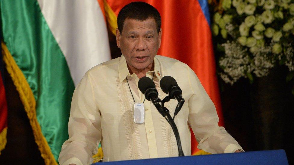 Filipino President Rodrigo Duterte speaking at a podium