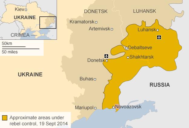 Map showing the battle lines in eastern Ukraine 19 September 2014