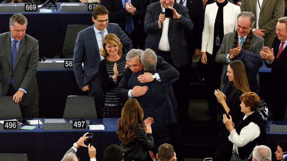 """Antonio Tajani (C) from the European People""""s Party (EPP) is congratulated by deputies after being elected as new president of the European Parliament in Strasbourg, France, 17 January 2017"""