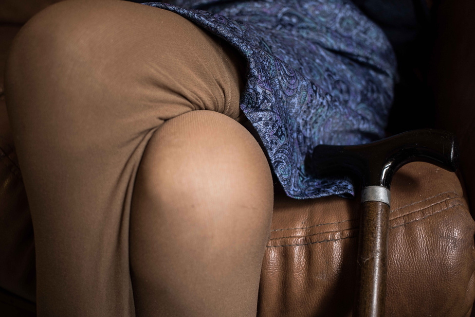 A woman's legs crossed over