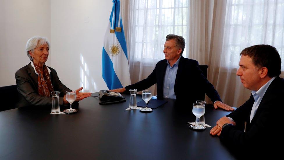 Macri, Largarde y Dujovne