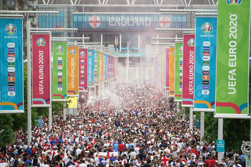 England fans on Wembley Way ahead of the UEFA Euro 2020 Final at Wembley Stadium, London, on 11 July 2021