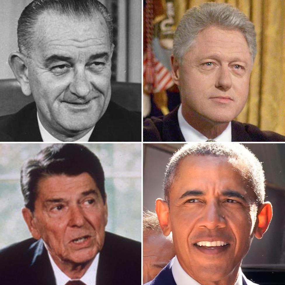 自左至右:林登·約翰遜、克林頓、里根、奧巴馬都