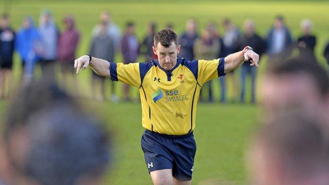 Nigel Owens referees Gowerton v Crymych