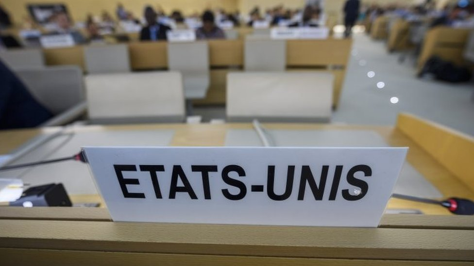 "The US name plate reading ""Etats-Unis"" in French is seen a day after the US announced its withdrawal at a UN Human Rights Council in Geneva, Switzerland"
