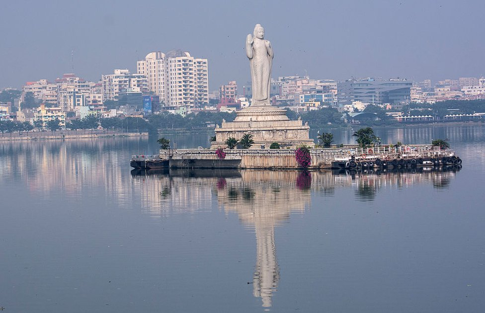 A 18-meter high Buddha statue stands in the middle of Hyderabad's Hussain Sagar lake.