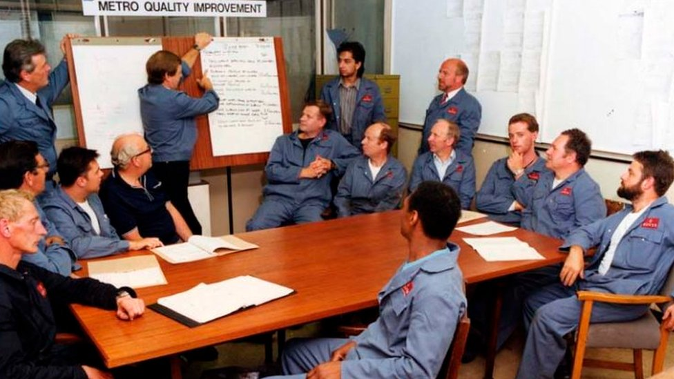 Longbridge workers at a Metro quality meeting
