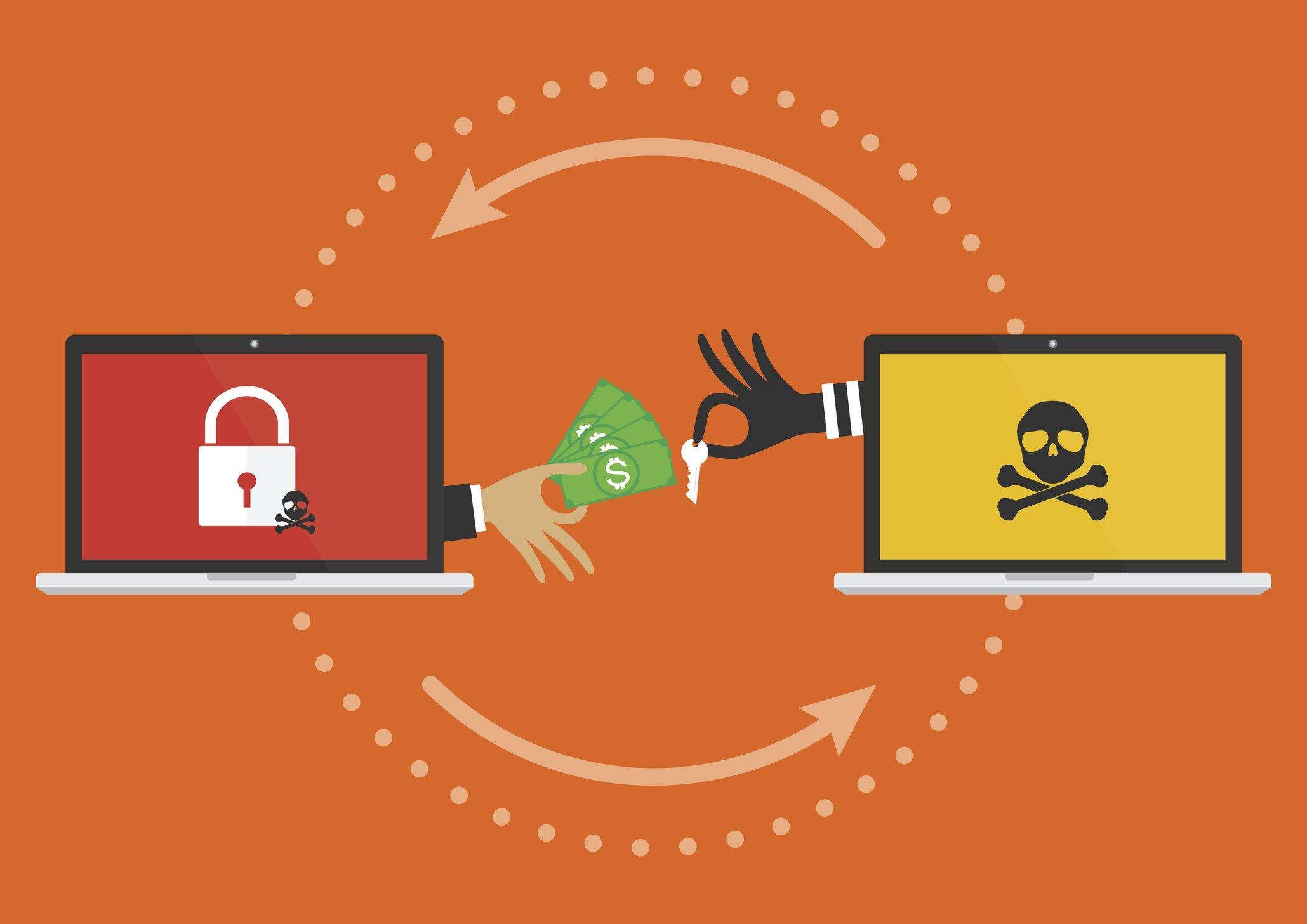 Gráfico que ilustra un ataque de cibersecuestro