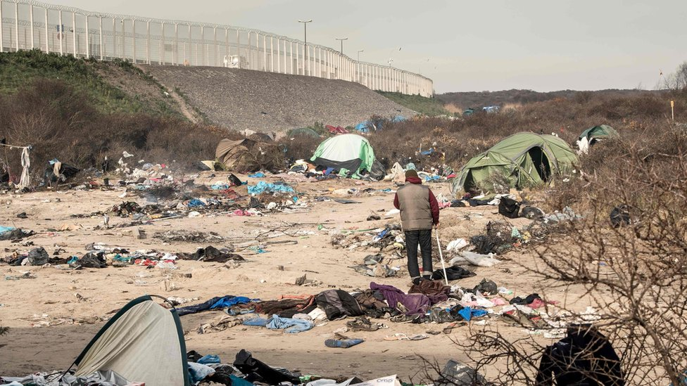 """Part of the Calais camp known as """"Jungle"""" that has been evacuated"""