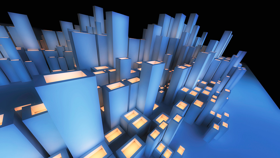 Ilustración de edificios futuristas