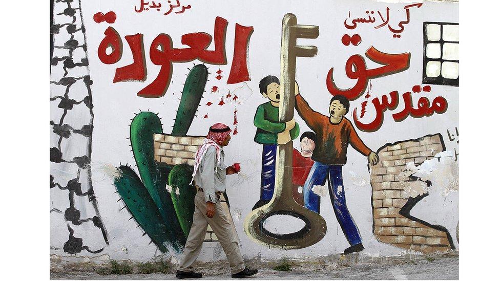 رسم جداري يوثق حق العودة في الضفة الغربية
