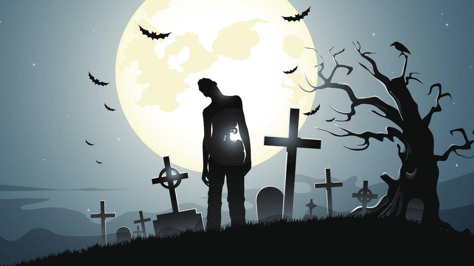 Siluэt zombi na fone lunы