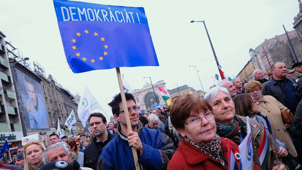Protesta en Hungría en 2015.