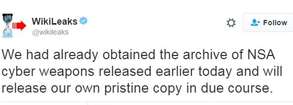 WikiLeaks' tweet
