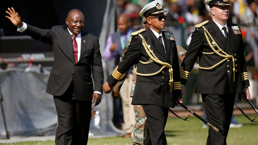Ramaphosa waving to crowds after taking oath of office
