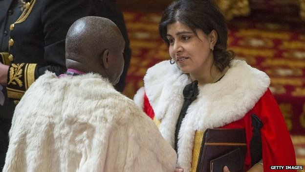 Baroness Warsi attends the State Opening of Parliament in the House of Lords on 27 May 2015