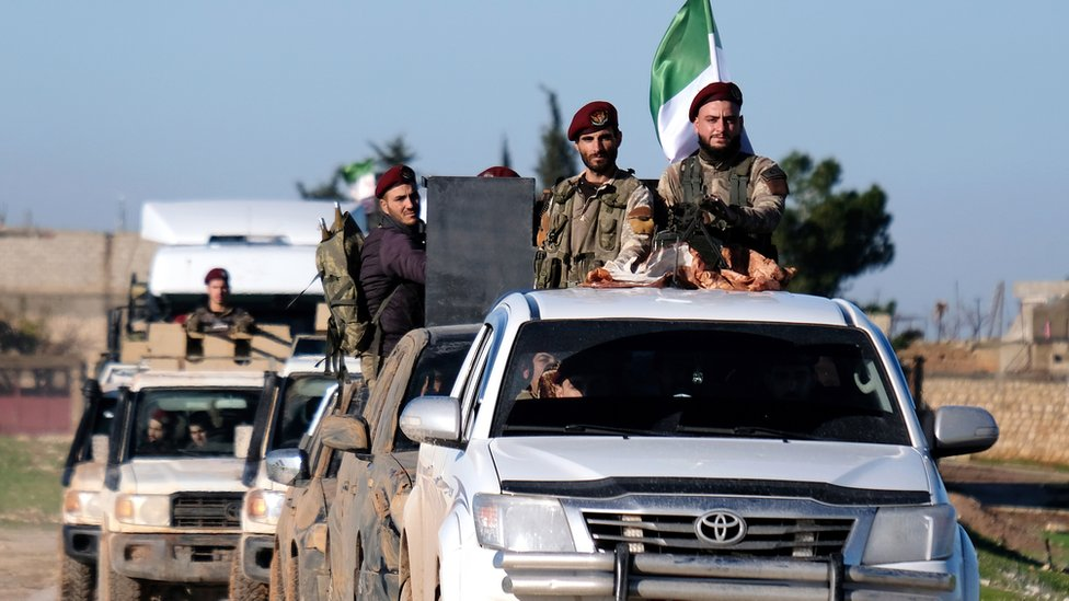 Turkish forces and Members of the Turkish-backed Free Syrian Army about 10km away from Manbij town in northern Syria, 29 December 2018
