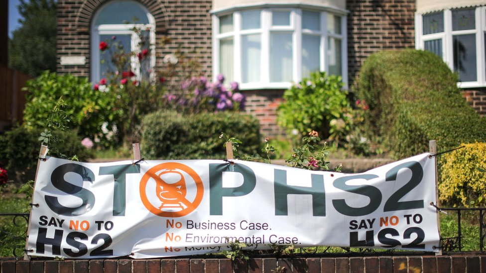 House with a sign protesting HS2 outside