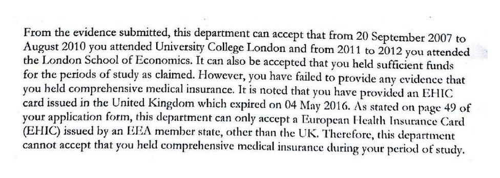 A letter from the Home Office to Tim Strahlendorf, denying him residency