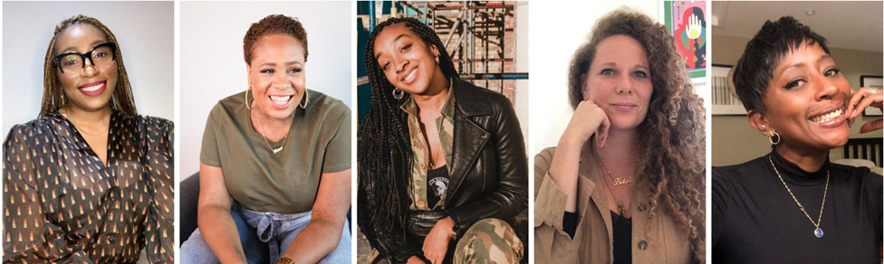 (Left to right) Sheryl Nwosu, Afryea Henry-Fontaine, Komali Scott-Jones, Lucy Francis and Char Grant