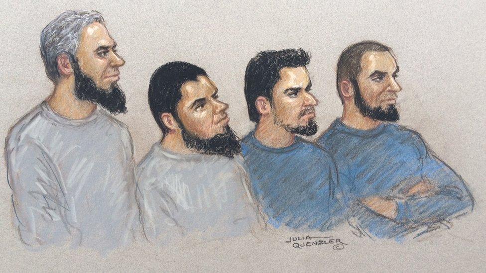 Birmingham and Stoke terror arrests: Court sketch showing (L-R) Naweed Ali, Khobaib Hussain, Mohibur Rahman and Tahir Aziz