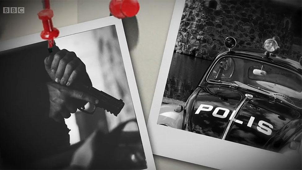 Manos con arma y auto de policía.