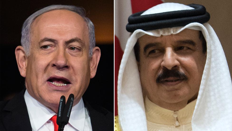 Israel's PM Benjamin Netanyahu and Bahrain's King Hamad bin Isa bin Salman al-Khalifa