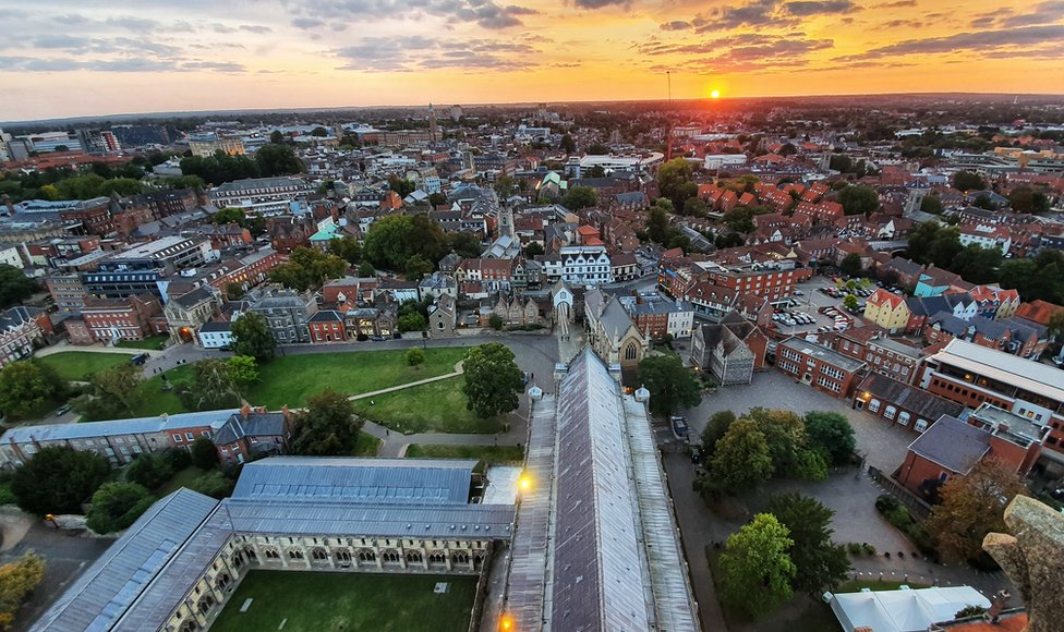 Aerial view of Norwich from the cathedral spire