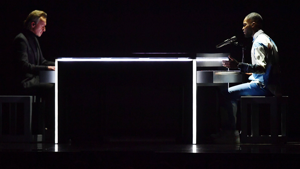 Dave performing at the 2020 Brit Awards