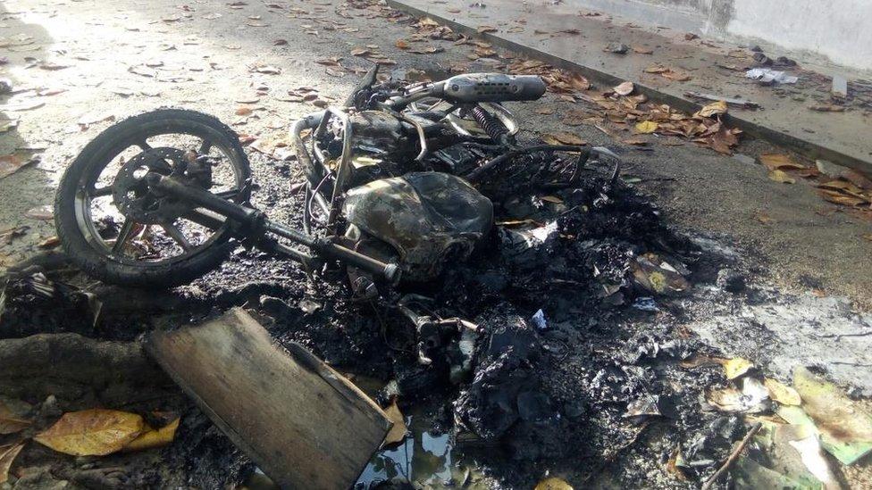 Burnt bike in Ampara
